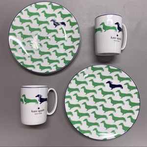 4 Kate Spade Wickford Dachshund Wiener Dog & Plate